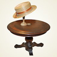 Antique pine needle boater style doll hat