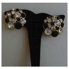 Clear and Black Rhinestone Clip-On Earrings