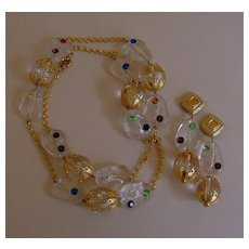 Clear Lucite and Multi-Colored Rhinestone Necklace and Earring Set