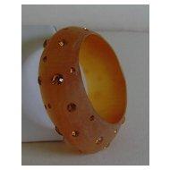 Velvet Lucite and Rhinestone Bangle Style Bracelet