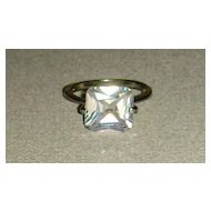 Silver-Tone and Cubic Zirconia Solitaire Ring