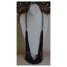 Multi-Strand Bugle and Seed Bead Necklace