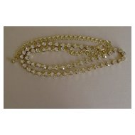 Gold-Tone and Clear Rhinestone Chain Necklace