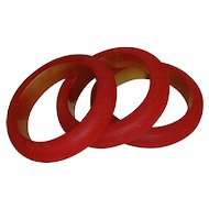 Lucite Red Bangle Style Bracelets (Set of 3)