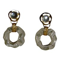 Clear Lucite an Gold-Tone Dangle Clip-On Earrings