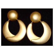 Matte Gold-Toned Large Hoop Earrings