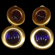 Matte Gold-Tone and Purple Dangle Clip-On Earrings