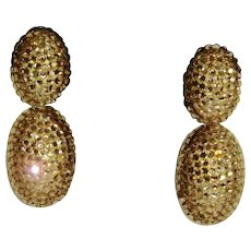 Richard Kerr Gold Colored Crystal Dangle Clip Earrings