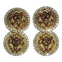 Rhinestone and Gold-Tone Lion Dangle Earrings