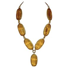 Kenneth Lane Matte Gold-Tone and Lucite Necklace