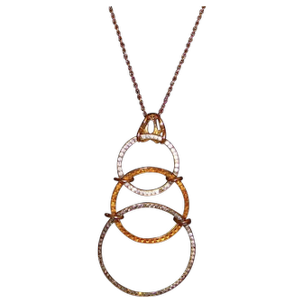 Castlecliffⓒ Gold-Tone and Rhinestone Triple Ring Pendant Necklace