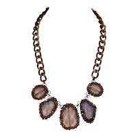 Lucite and Gunmetal-Tone beaded Necklace