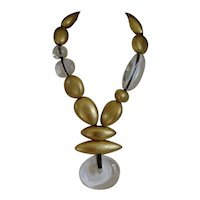 MONIES Clear Lucite and Gold Leaf Necklace