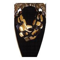 MONIES - Gerda Lynggaard Black and Gold Leaf Foiled Multi-Strand Necklace