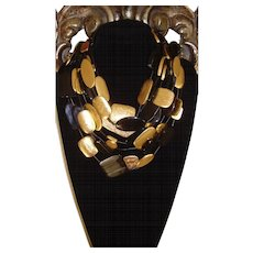 MONIES - Gerda Lynggaard Black and Gold Leaf Foiled Multi-Strand Necklace