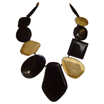 Lucite Bib Necklace in Black and Faux Gold Leaf