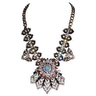 Antique Gold-Tone and Rhinestone Statement Necklace