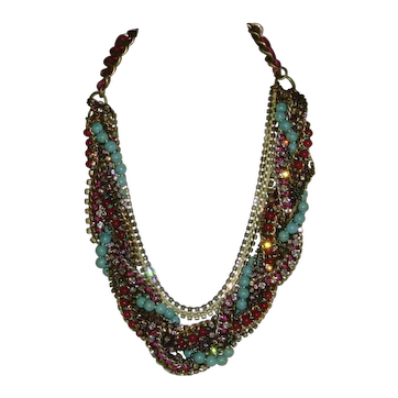 Antique Gold-Tone and Rhinestone Multi-Strand Necklace