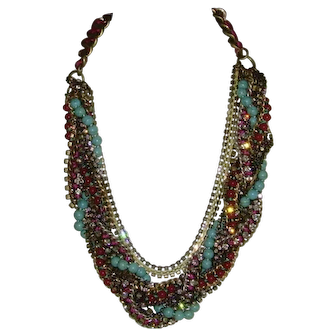 Antique Gold-Tone and Rhinestone Multi-Strand Necklace