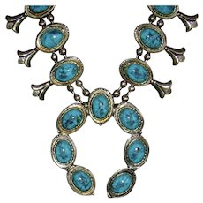 Silver-Tone and Faux Turquoise Squash Blossom Necklace