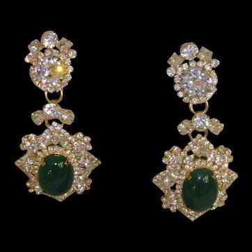 Rhinestone and Gold-Tone Chandelier Earrings