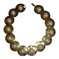 Gold-Tone and Simulated Pearl Disc Style Necklace