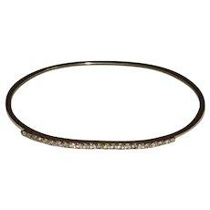 Gold-Tone and Rhinestone Thin Bangle Bracelet
