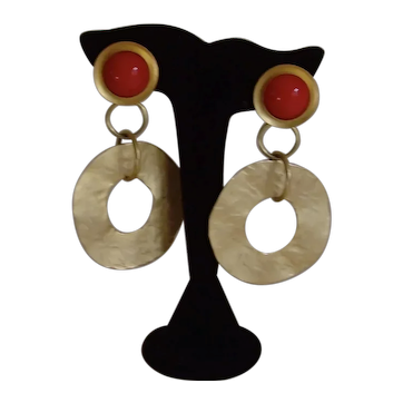 Norma Jean Matte Gold-Tone and Red Dangle Earrings