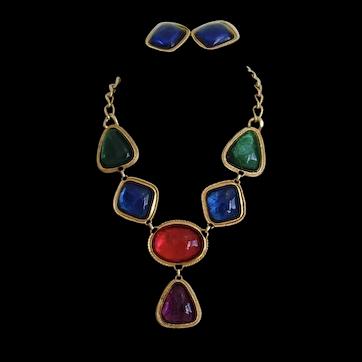 Kenneth J Lane KJL Caprianti Cabochon Necklace and Earring Set