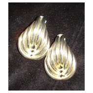 Silvertone Abstract Clip Earrings