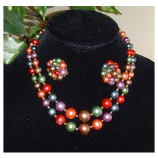 Simulated Pearl Necklace and Earring Set