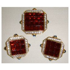 Craft © Gold-Toned Rhinestone and Glass Pin and Earring Set
