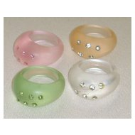 Lucite and Rhinestone Vintage Rings (Set of 4)