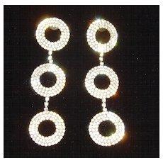 Shoulder Duster 3 Disc Rhinestone Dangle Earrings
