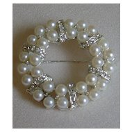 Simulated Pearl and Rhinestone Brooch