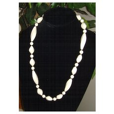 White Lucite and Gold-Toned Metal Necklace