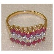 Genuine 10 Karat Gold Ruby and Diamond Ring