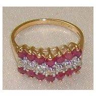 Genuine 10 Karat Gold Ruby and Diamond Ring