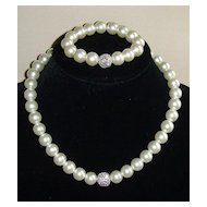 R.J. Graziano Simulated Pearl and Rhinestone Necklace Set