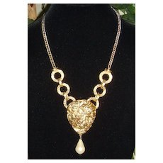 Gold-Tone and Simulated Pearl Drop Pendant Necklace