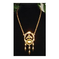 Lisner Gold-Tone Large Pendant Necklace