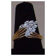 10 Karat Gold and Diamond Feather Ring