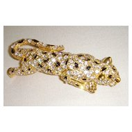 Gold-Tone and Rhinestone Leopard Should Pin