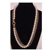 Gold-Tone and Simulated Pearl Triple Strand Necklace