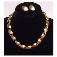 Matte Gold-Toned Necklace and Earring Set