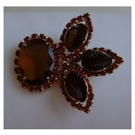 Topaz Colored Rhinestone and Lucite Brooch