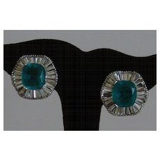 Silver-Tone and Emerald Green Colored Rhinestone Clip-On Earrings