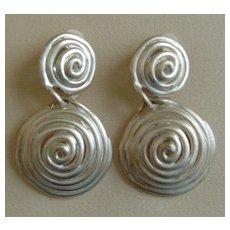 Matte Silver-Tone Dangle Earrings