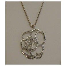 Silver-Tone Rhinestone Pendant Necklace