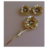 Gold-Tone and AB Rhinestone Flower Brooch and Earring Set